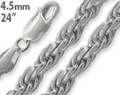 "Load image into Gallery viewer, Sterling Silver 24"" Rope Chain Necklace 4.5MM"