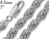 "Sterling Silver 7"" Rope Chain Bracelet - 4.5MM"