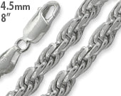 "Sterling Silver 8"" Rope Chain Bracelet - 4.5MM"