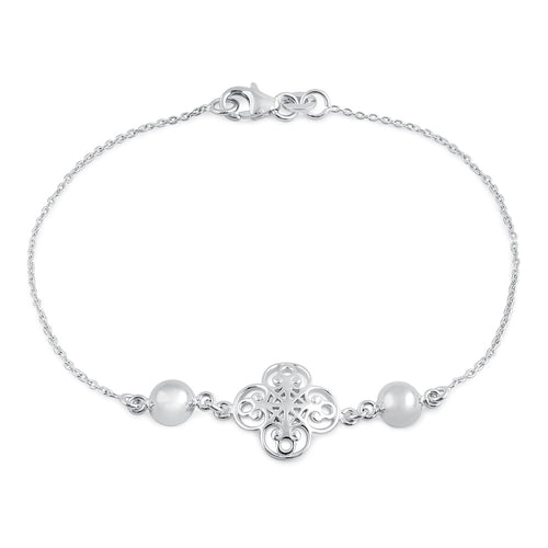 Sterling Silver Mystic Flower and Bead Bracelet