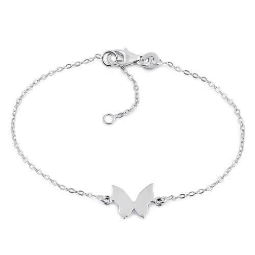 Sterling Silver Simple Butterfly Bracelet