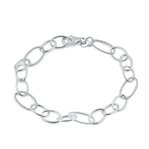 Sterling Silver Rope Oval Linked Bracelet