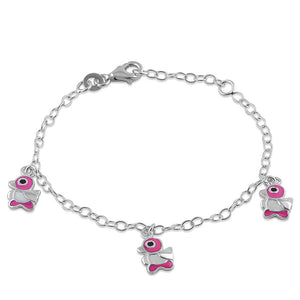 Sterling Silver 3 Multi Color Enamel Ducks Bracelet (Child Size)