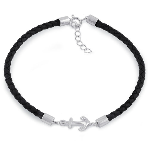 Sterling Silver Black Leather Anchor Bracelet