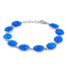 Load image into Gallery viewer, Sterling Silver Blue Lab Opal 12.0mm x 10.0mm Oval Beads Bracelet