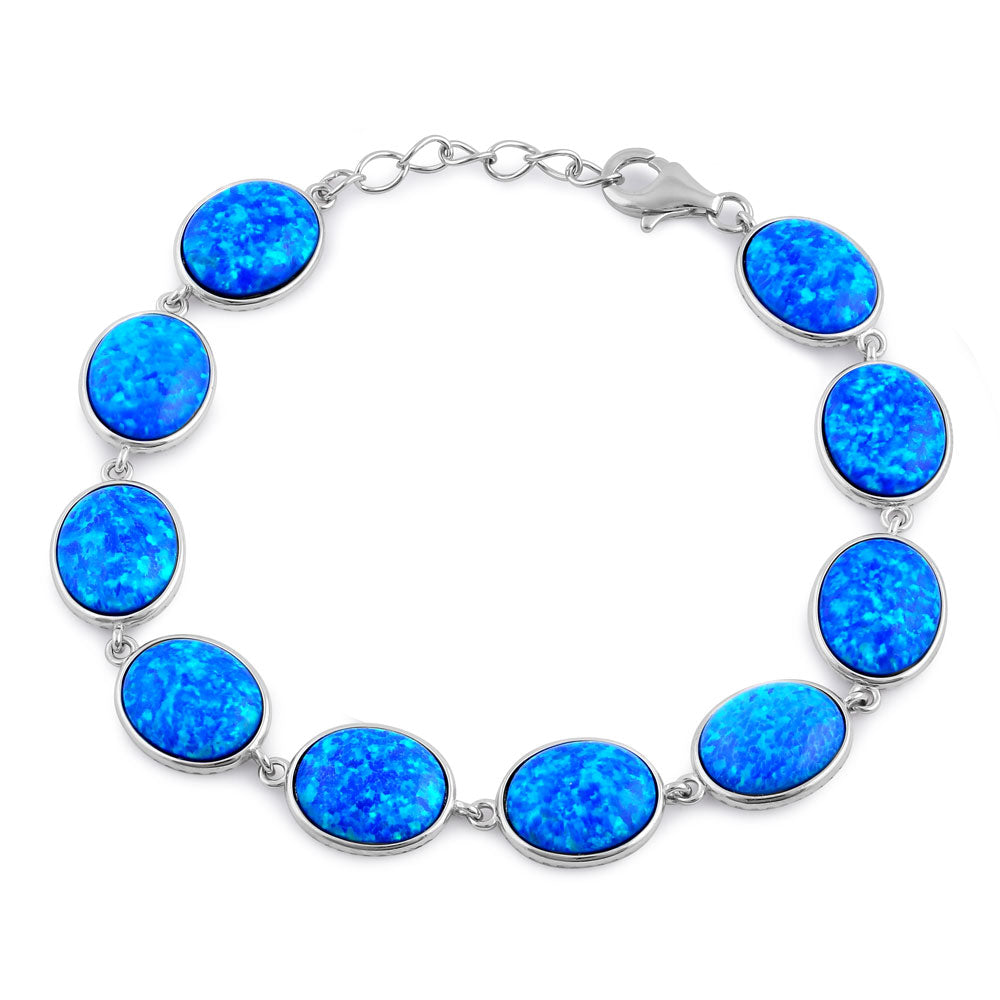 Sterling Silver Blue Lab Opal 12.0mm x 10.0mm Oval Beads Bracelet