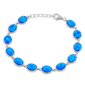 Sterling Silver Blue Lab Opal 9.0mm x 7.0mm Oval Beads Bracelet