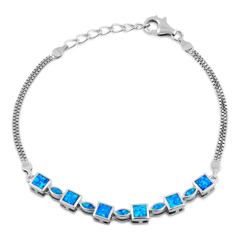 Sterling Silver Blue Lab Opal Marquise and Square Beaded Bracelet