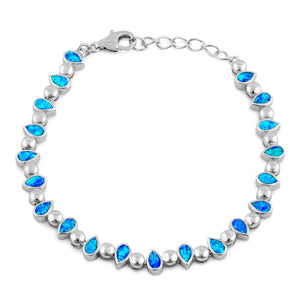 Sterling Silver Blue Lab Opal Pear and Bead Bracelet