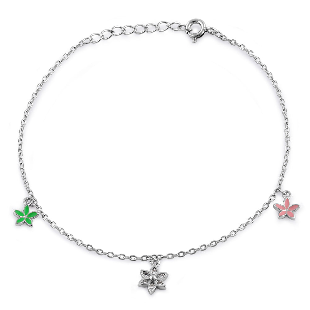 Sterling Silver Dainty Multi-Colored Charm Flower Hand Painted Clear CZ Bracelet