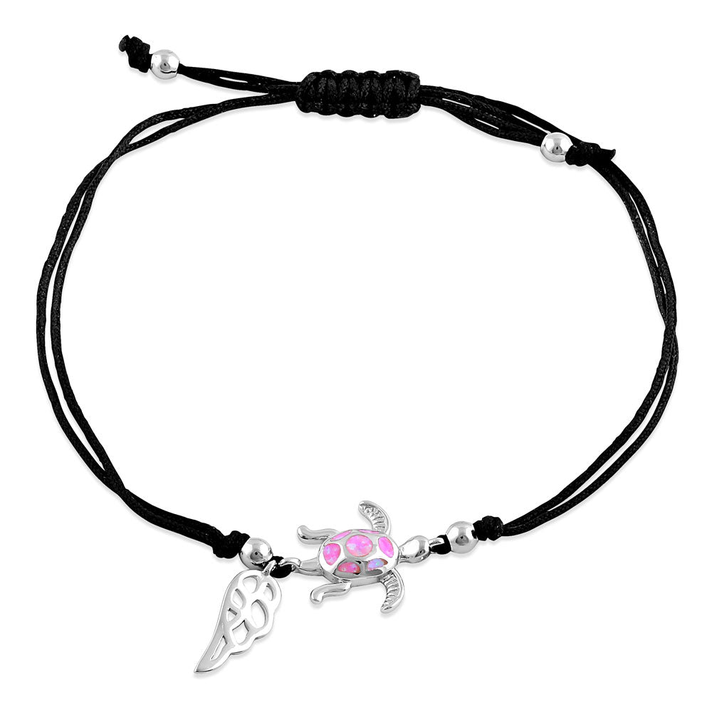 Sterling Silver Winged Pink Lab Opal Turtle Adjustable Silk Bracelet