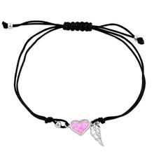Load image into Gallery viewer, Sterling Silver Winged Pink Lab Opal Heart Adjustable Silk Bracelet