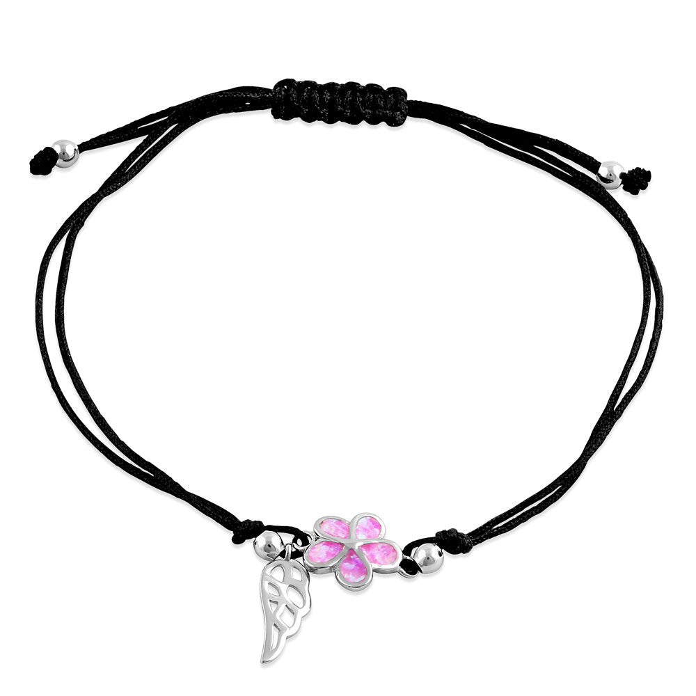 Sterling Silver Winged Pink Lab Opal Plumeria Adjustable Silk Bracelet