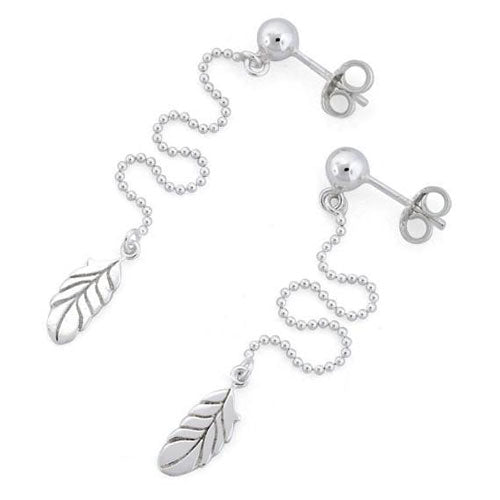 Sterling Silver Hanging Bead Leaves Earrings