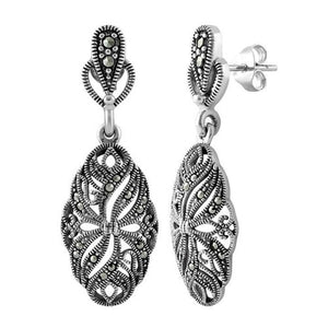 Sterling Silver Ribbon Vines Marcasite Earrings