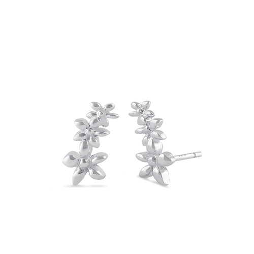 Sterling Silver Small Plumeria Climber Earrings