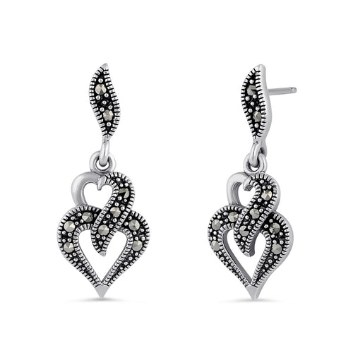 Sterling Silver Double Heart Marcasite Dangle Earrings