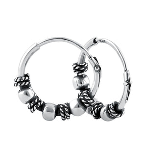 Sterling Silver 2.5mm x 14.0mm Triple Bead Bali Hoop Earrings