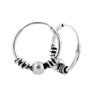 Sterling Silver 3.5mm x 14.0mm Bali Bead Hoop Earrings