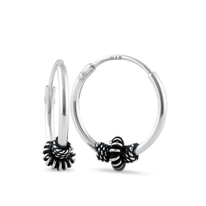 Sterling Silver 4.5mm x 14.0mm Corrugated Bali Bead Hoop Earrings