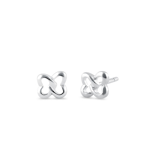 Sterling SIlver Twisted Hearts Stud Earrings