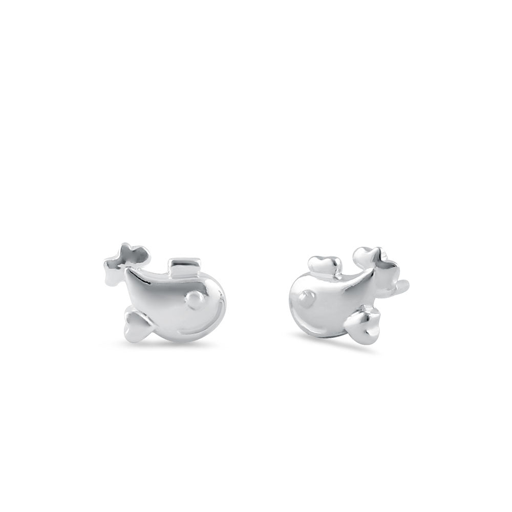 Sterling SIlver Happy Fish Stud Earrings