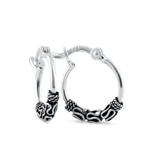 Sterling Silver 1.2mm x 14.0mm Bali Rope and Swirl Hoop Earrings