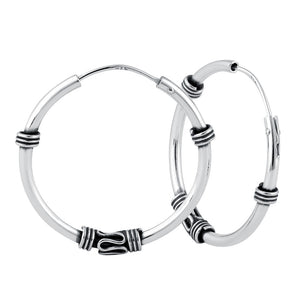 Sterling Silver 1.7mm x 25.5mm Bali Rope and Swirl Hoop Earrings