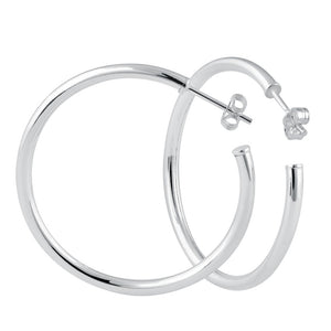 Sterling Silver 2.5mm x 40.0mm Hoop Earrings