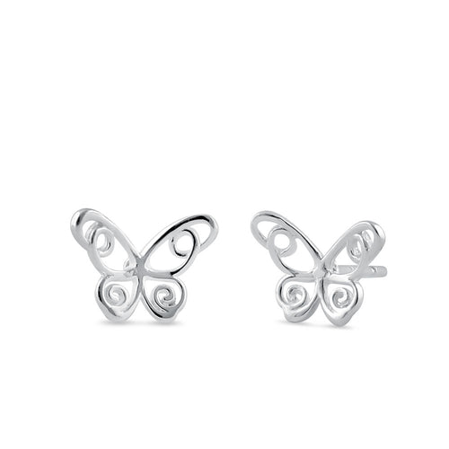 Sterling Silver Cute Butterfly Stud Earrings