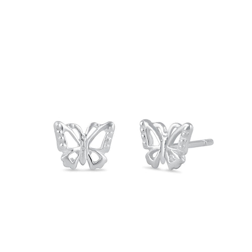 Sterling Silver Dainty Butterfly Stud Earrings