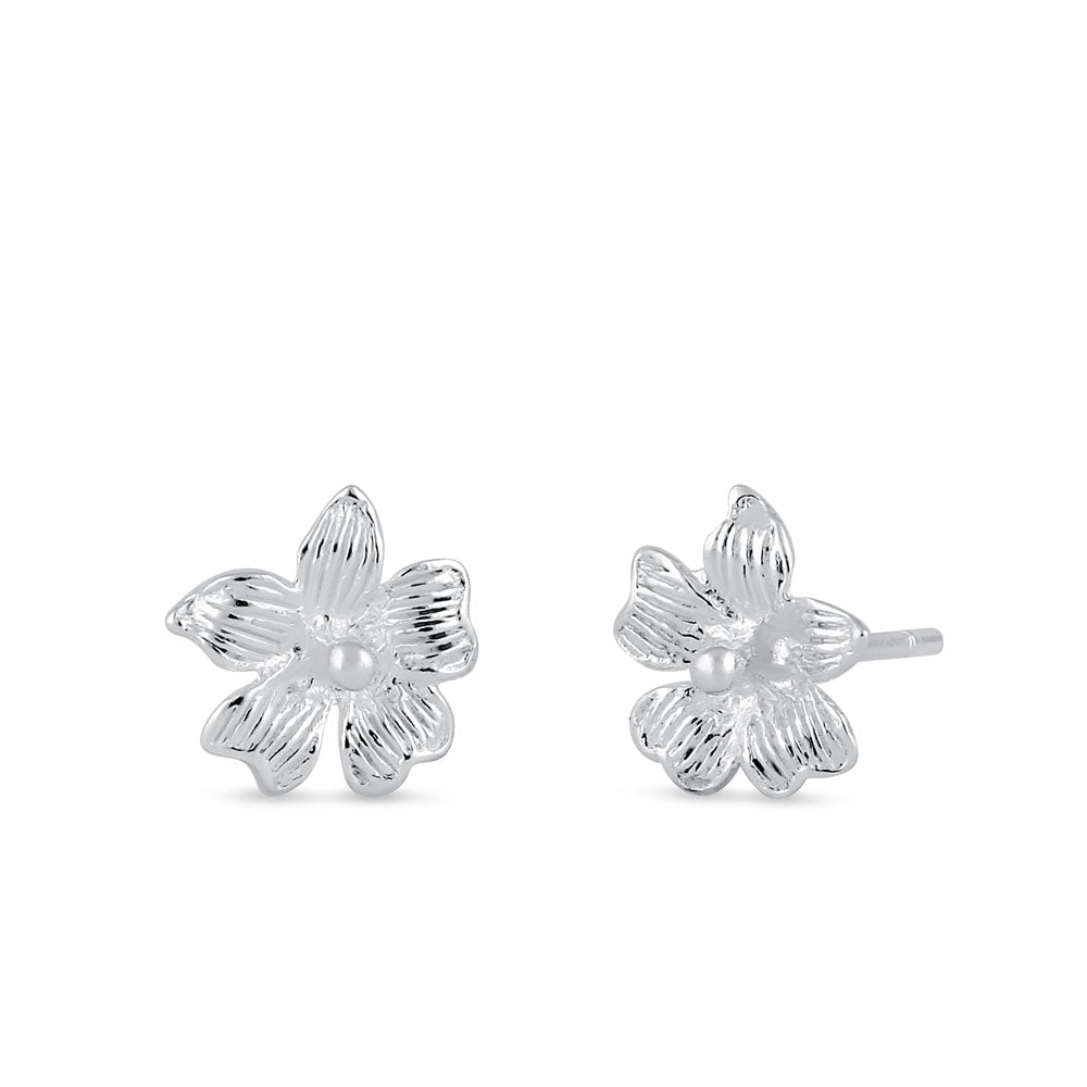 Sterling Silver Hibiscus Flower Stud Earrings