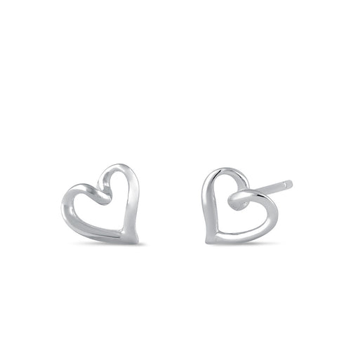 Sterling Silver Cursive Heart Stud Earrings