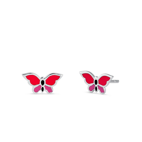 Sterling Silver Pink Enamel Butterfly Earrings