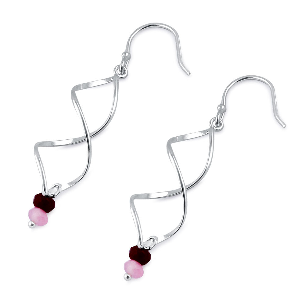 Sterling Silver Double Twist and Pink and Ruby Bead Earrings