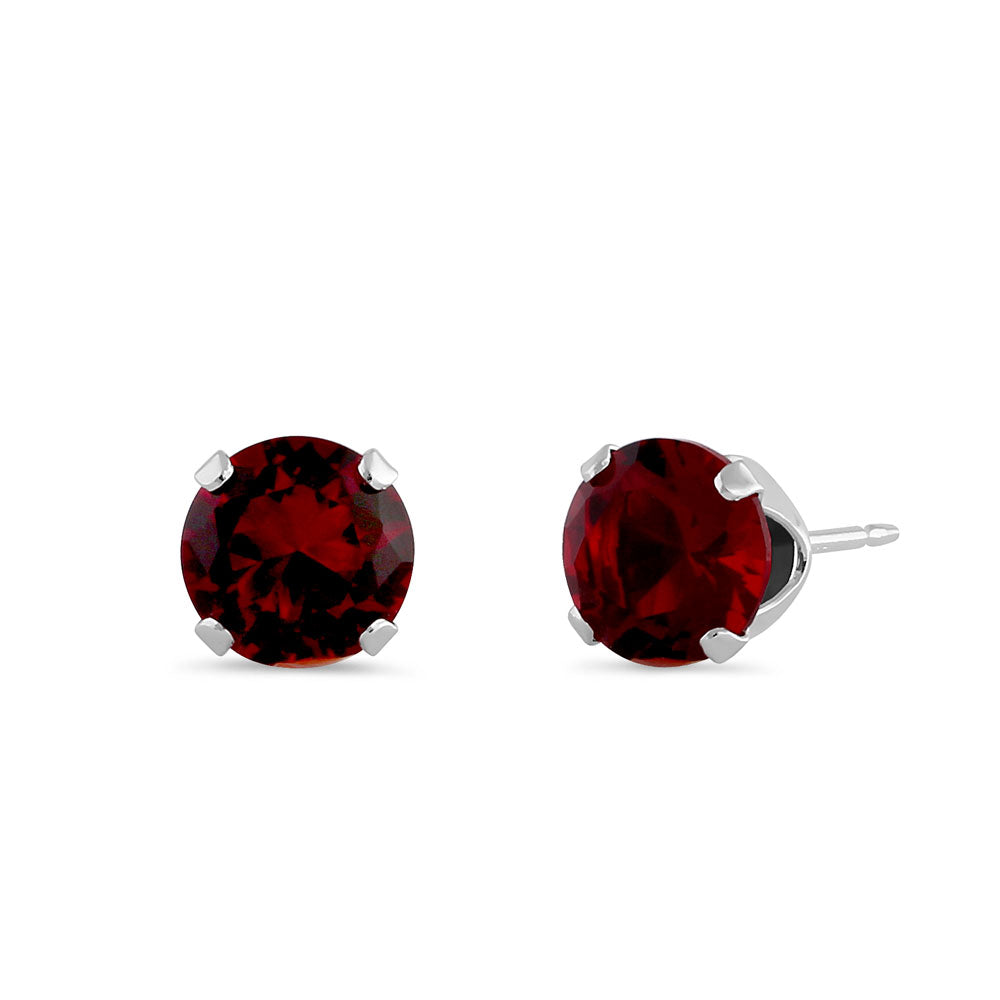 1.5ct Sterling Silver Round Garnet CZ Stud Earrings 6mm