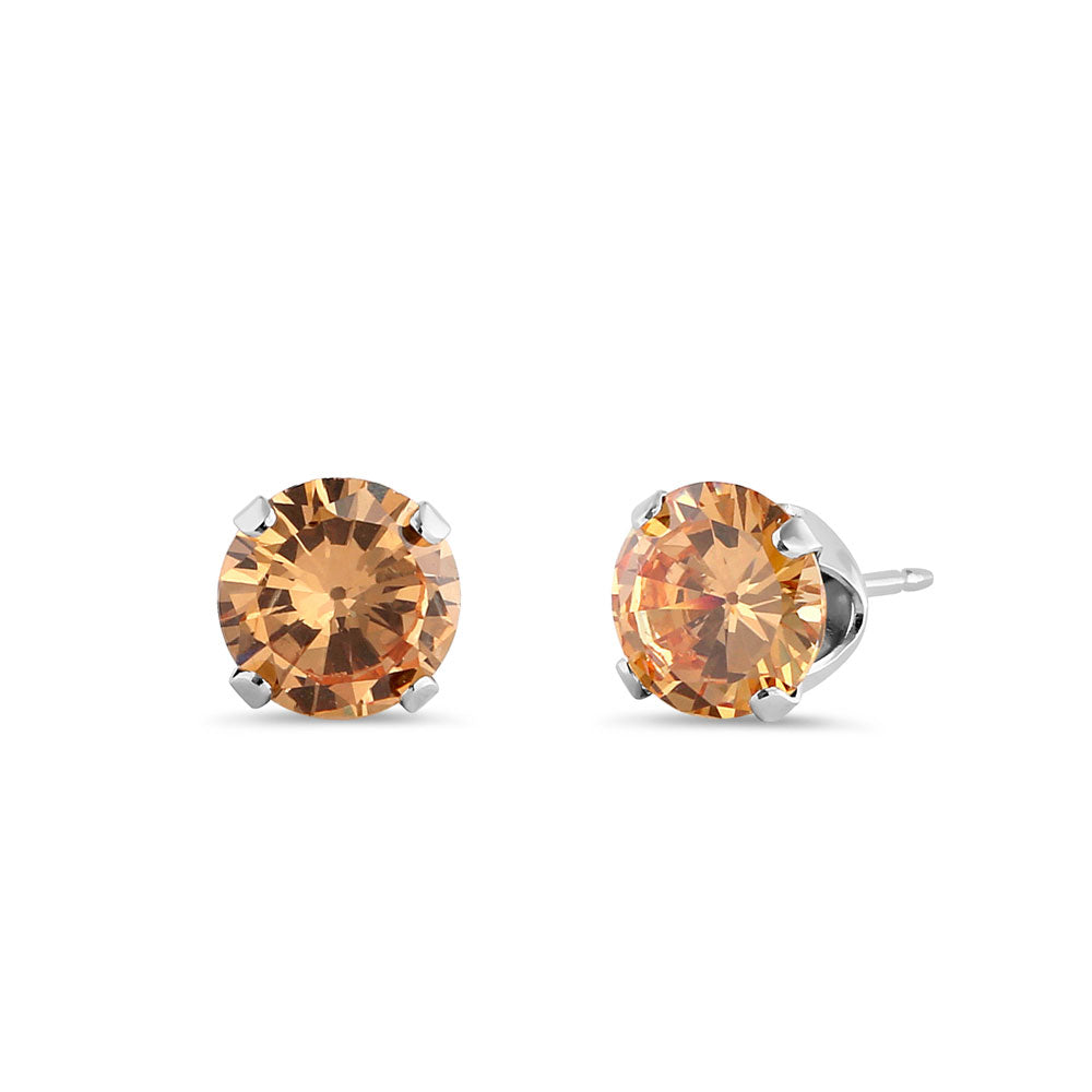 1.5ct Sterling Silver Round Champagne CZ Stud Earrings 6mm