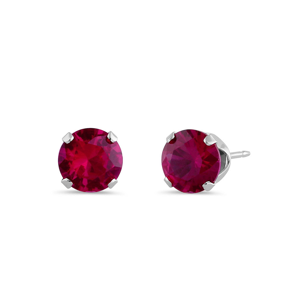 1.5ct Sterling Silver Round Ruby CZ Stud Earrings 6mm