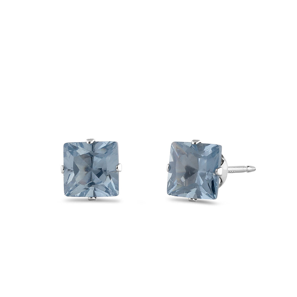 0.8ct Sterling Silver Aquamarine Square CZ Stud Earrings 4mm