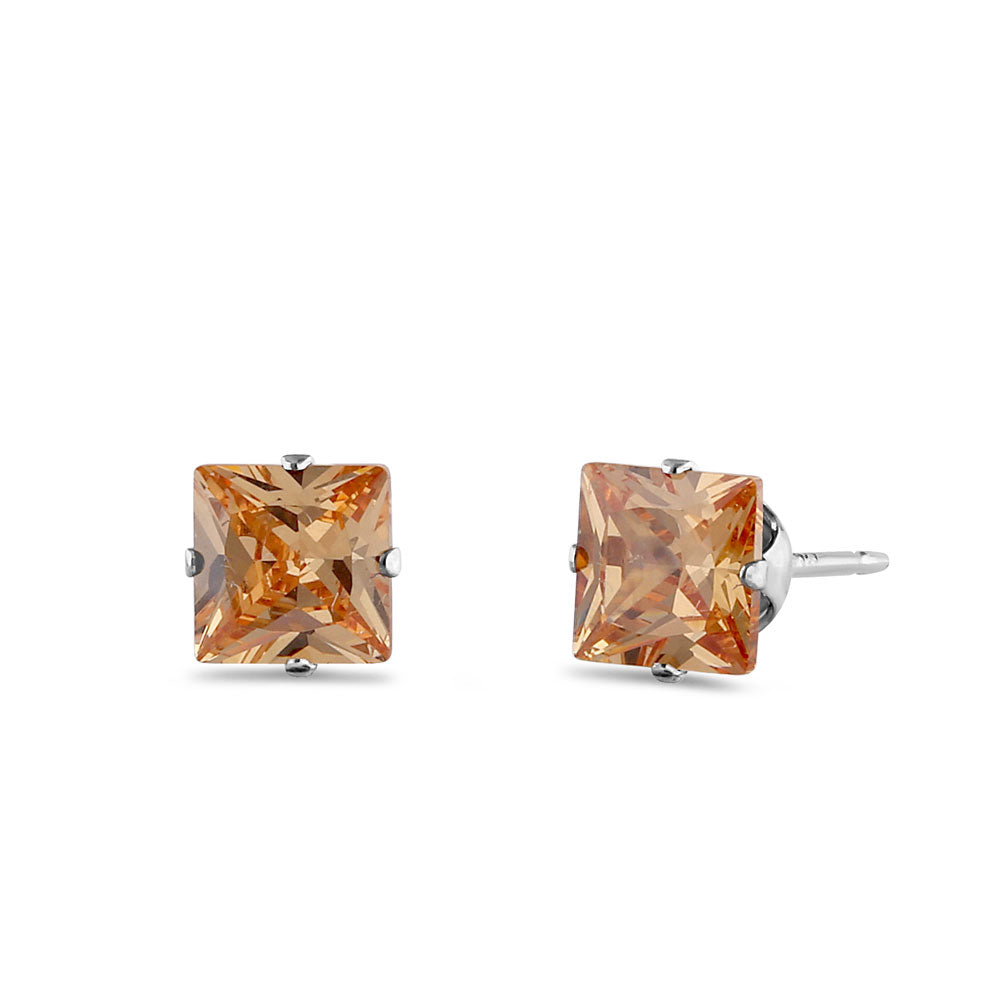 1.4ct Sterling Silver Champagne Square CZ Stud Earrings 5mm