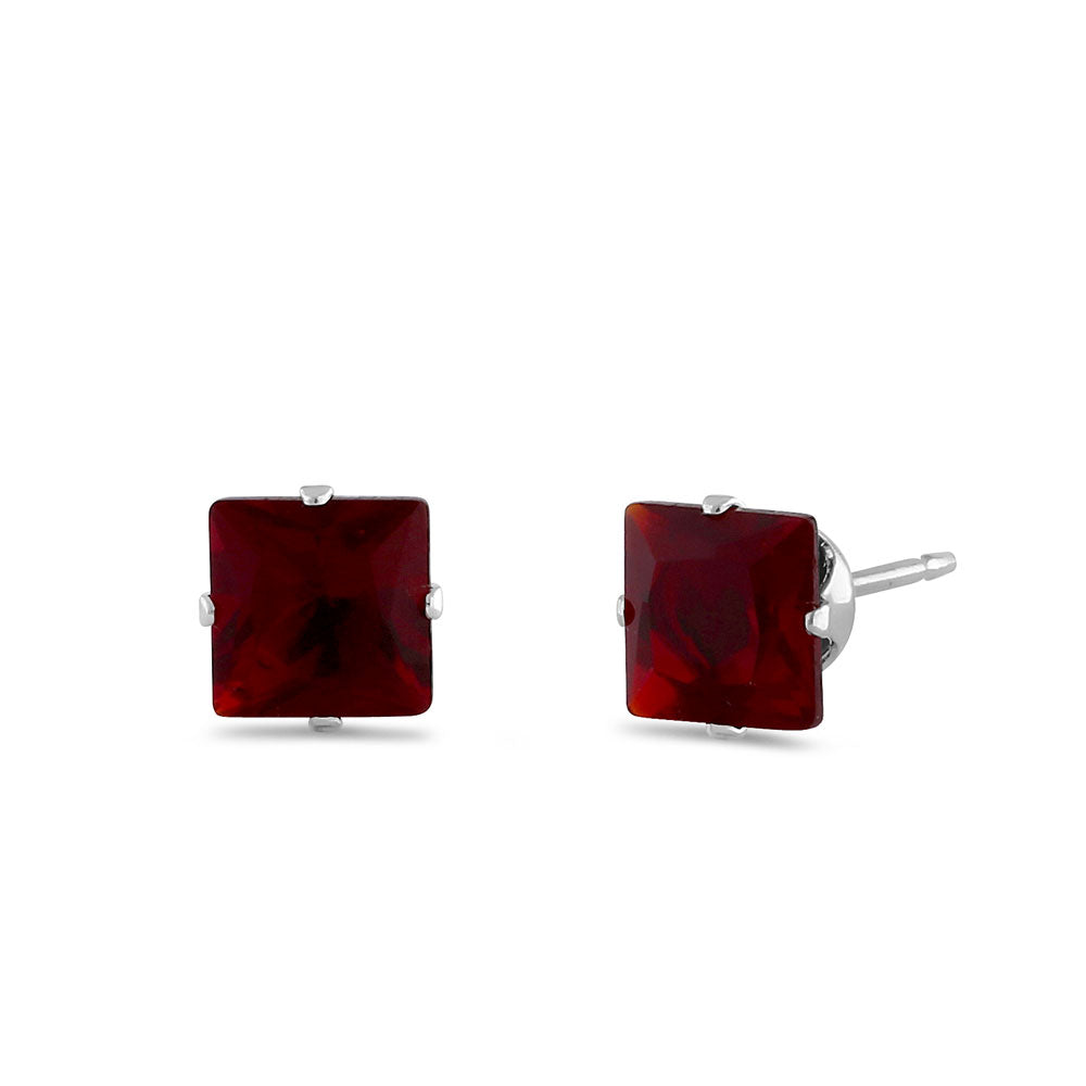 1.4ct Sterling Silver Garnet Square CZ Stud Earrings 5mm