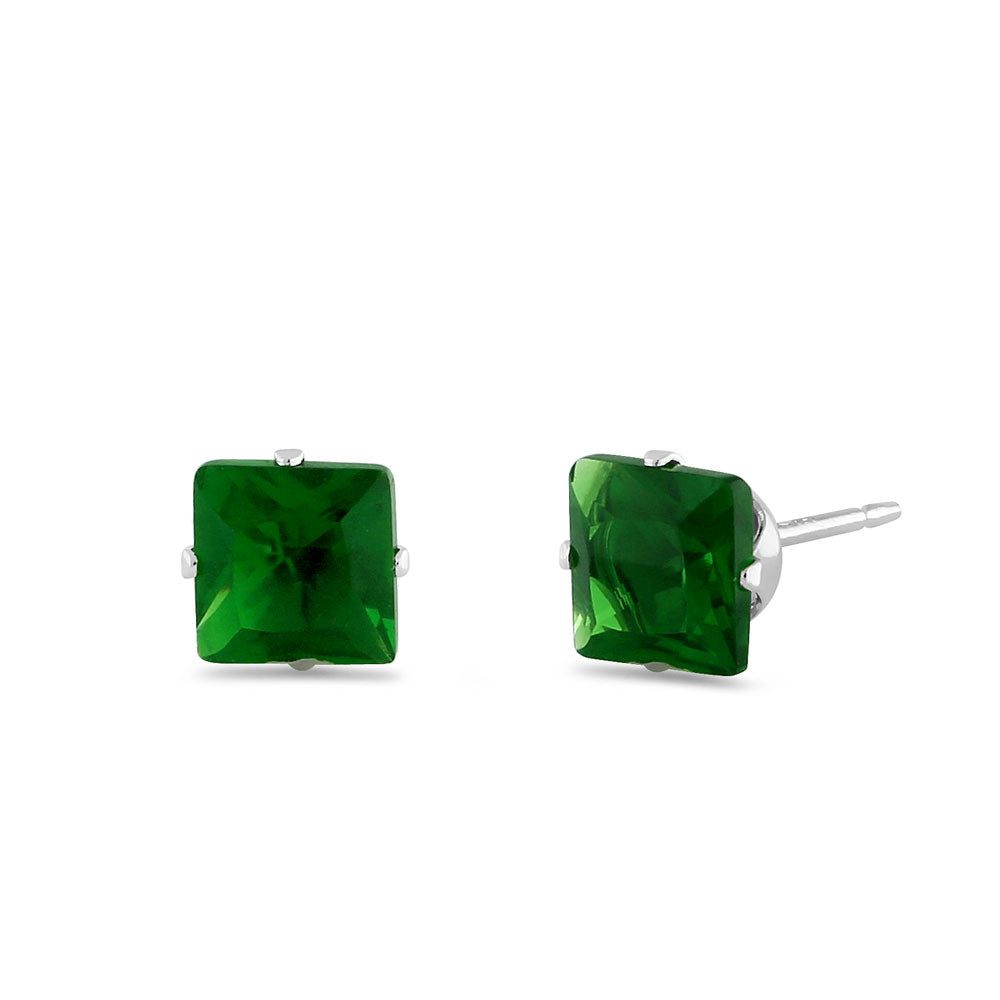 1.4ct Sterling Silver Green Square CZ Stud Earrings 5mm