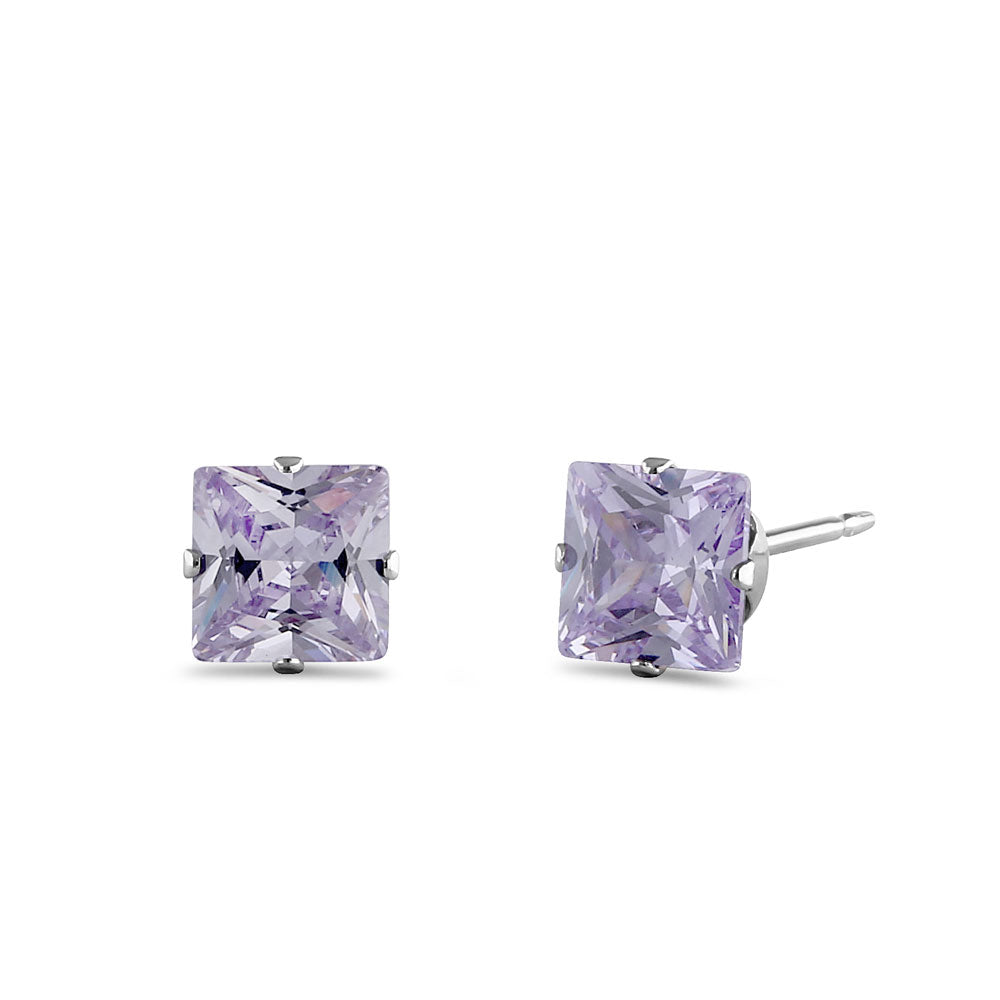 1.4ct Sterling Silver Lavender Square CZ Stud Earrings 5mm