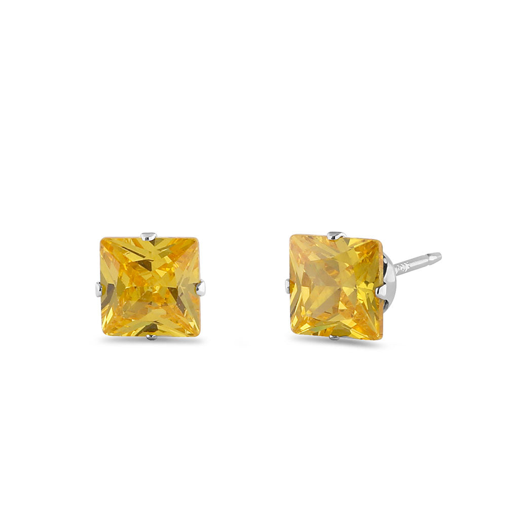 1.4ct Sterling Silver Yellow Square CZ Stud Earrings 5mm