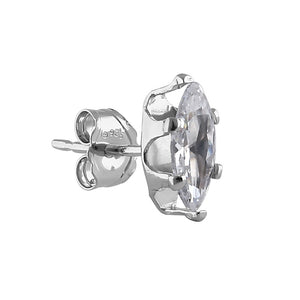 0.35ct Sterling Silver Clear Marquise CZ Stud Earrings 7mm x 3.5mm