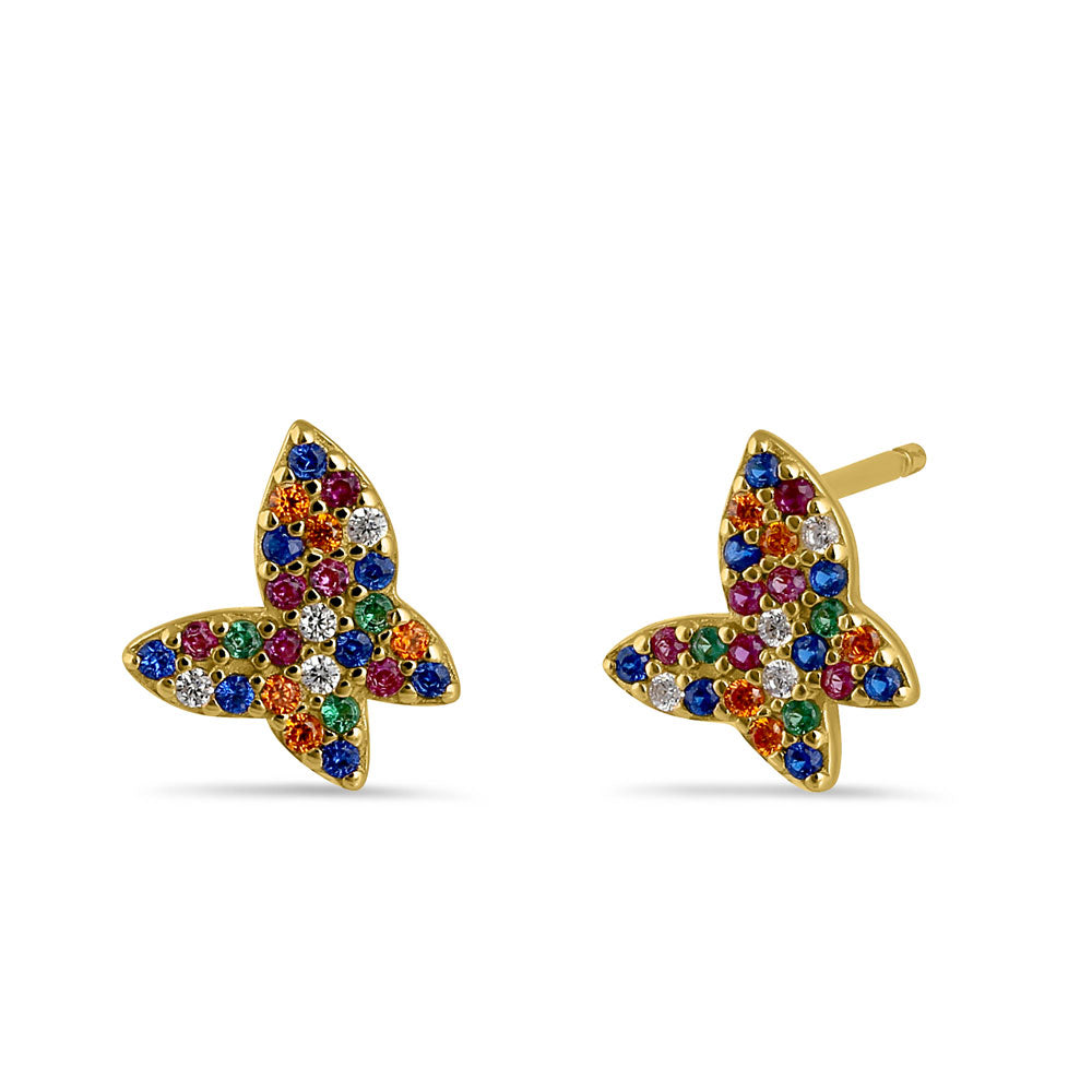 Sterling Silver Yellow Gold Plated Colorful CZ Butterfly Stud Earrings