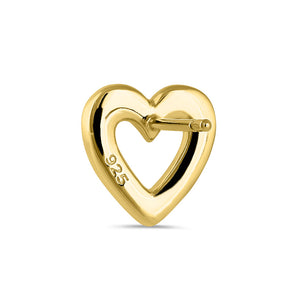 Sterling Silver Yellow Gold Plated Colorful CZ Heart Stud Earrings
