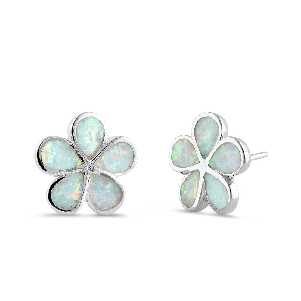 Sterling Silver Flower White Lab Opal Stud Earrings