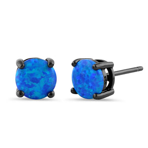 Sterling Silver Black Rhodium Plated Round Blue Lab Opal Stud Earrings