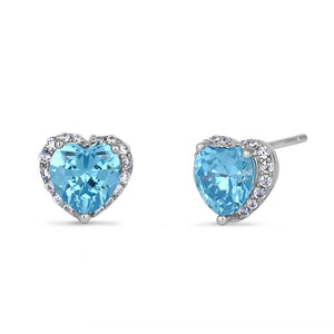 Sterling Silver Heart Shape Blue Topaz CZ Earrings